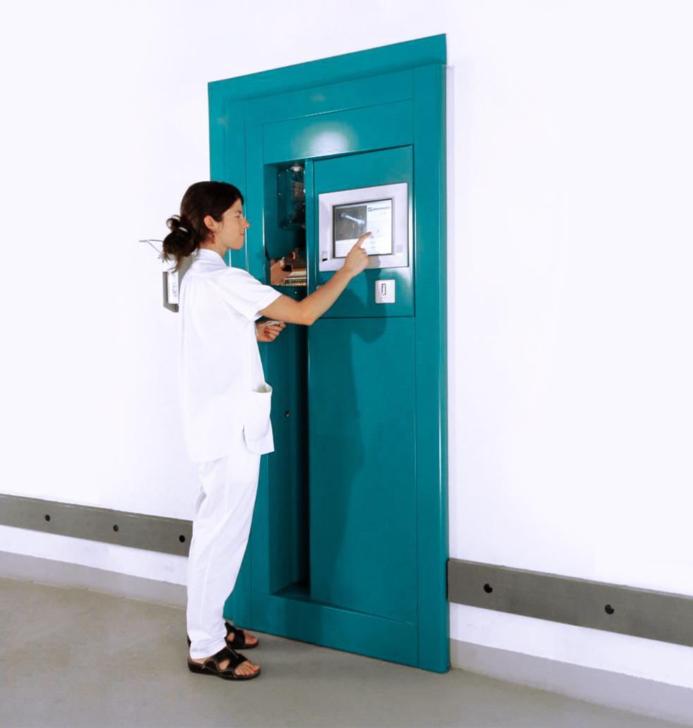 Hospital uniform pick-up gate